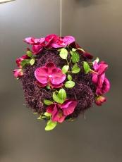 große Mooskugel lila, mit Orchideen